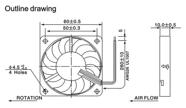 60x60x10mm dc axial fan